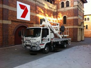 Cherry Picker Hire Brisbane Used During Filming for Channel 7 News