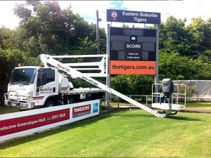 Cherry Picker Install Sports Field ScoreBoard
