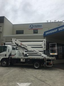 Cherry Picker Hire Holden Car Sign Installation Brisbane